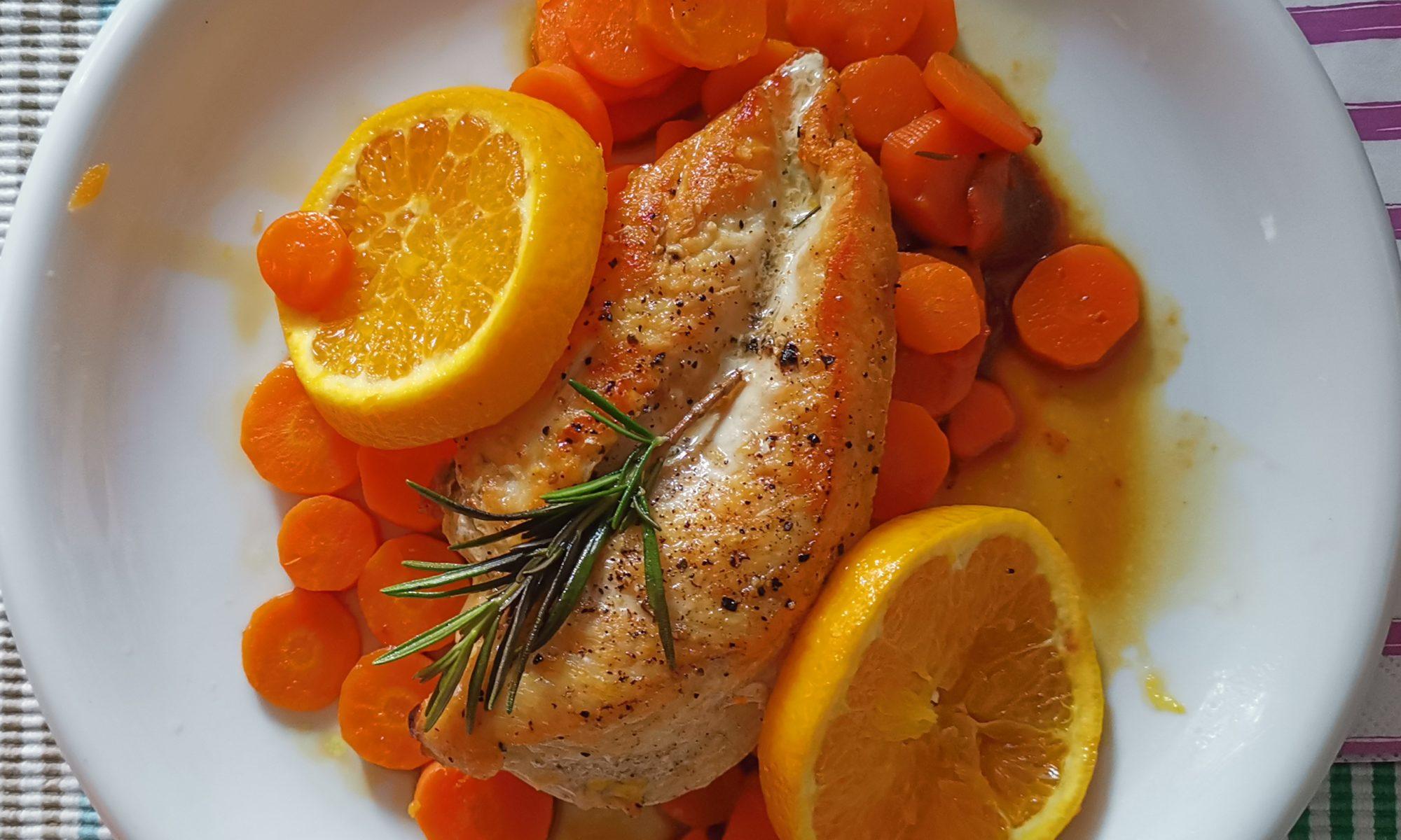 Titelbild Hähnchenbrustfilet mit Orangen und Karotten